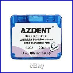 10 Boxs AZDENT 2nd Molar Buccal Tube Non-Convertible Monoblock Bondable Roth 022