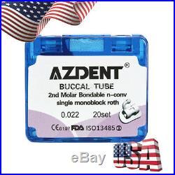 10 box 2nd Molar Buccal Tube Monoblock Bondable Non-Convertible Roth. 022 CAD