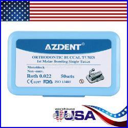 10X AZDENT Dental Orthodontic Buccal Tube 1st Molar Roth. 022 Non-Conv Monoblock