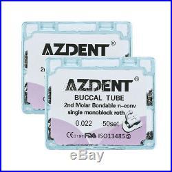 10x Bondable 2nd Molar Roth 0.022 Buccal Tubes Monoblock 50Set/box AZ