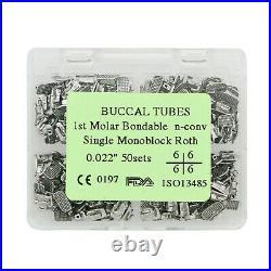 200Pcs Dental Orthodontic Buccal Tubes Monoblock Bonding 1St Molar Roth 022 Slot