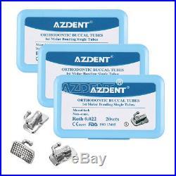 20X Dental 1st Molar Buccal Tube Roth 022 Bondable Monoblock Non-Convertible
