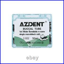 5X AZDENT Dental Monoblock Buccal Tube 1st Molar Roth 0.022 Bondable Non-conv