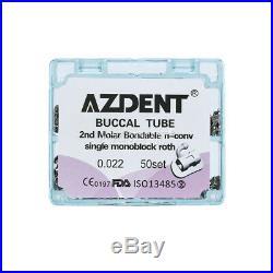 5X Dental 2nd Molar Buccal Tube Roth 022 Bondable Non-Convertible Monoblock