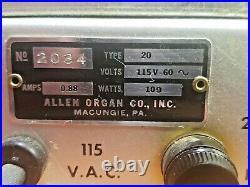 Tube Amp Allen Organ 20 Watt Mono Block With Volume Control 6L6GC Tested Video