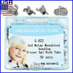 USA 200Pcs Dental Orthodontic Monoblock Buccal Tubes 1st 2nd Molar Roth MBT 022