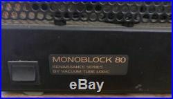 VTL Vacuum Tube Logic Renaissance Monoblock 80 for parts or restoration