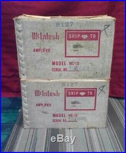Vintage MCINTOSH MC-30 TUBE MONO BLOCKS SEQUENTIAL SERIAL NUMBERS ORIGINAL BOXES
